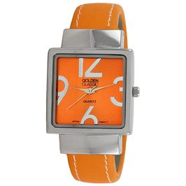 "Golden Classic Women's orange ""Spectrum"" modern bangle leather watch"