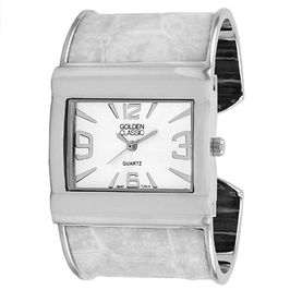 "Golden Classic Women's white ""Show Stopper"" wide crocodile leather bangle watch"