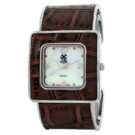 "Golden Classic Women's brown ""Runway"" shiny croco leather cuff watch"