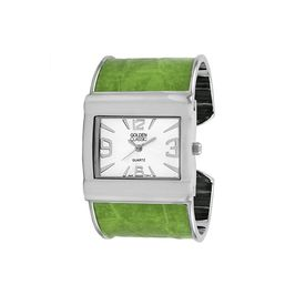 "Golden Classic Women's green ""Show Stopper"" wide crocodile leather bangle watch"