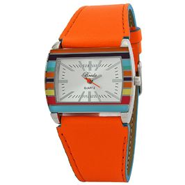 Breda Women's orange Jasmine colorful leather strap watch